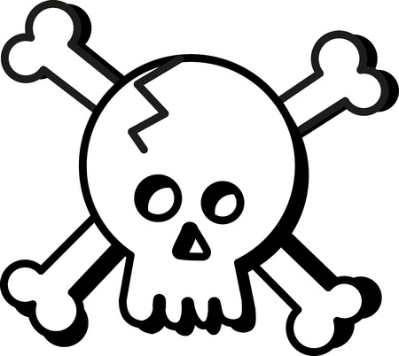 crossbone: This design is sure to please Halloween tricksters of all ages.  Scare up some fun with this design on t-shirts, hoodies, hats, warm-ups and more. Illustration
