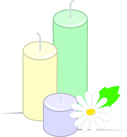 scented candle: Rejuvenate your body and mind with this relaxing design on framed embroidery, towels, aprons and more for your spa. Illustration