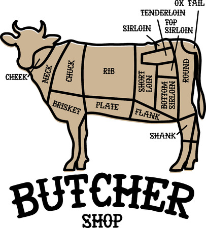 bovine: Spice up your kitchen decor and chefs apparel with this design on kitchen linen, chef coats, apron and hats. Illustration