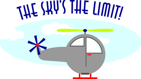 Up, up and away. Blast off. This cute design will be perfect for your little pilots on t-shirts, hoodies, hats, warm-ups and more. Stock Illustratie