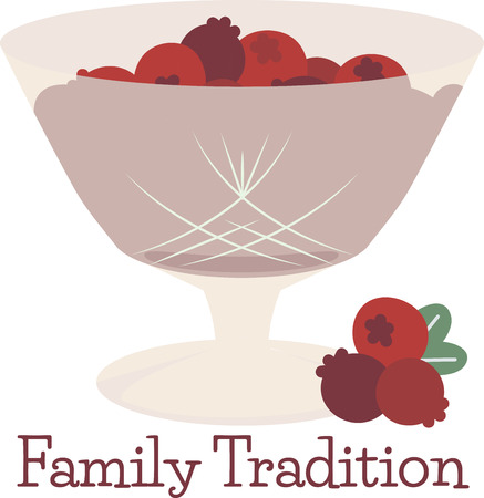 cranberries: Cranberries make a flavorful addition to many Thanksgiving side dishes and desserts. Make a perfect gift with this design on table runners, kitchen linens, home decor and other holiday projects! Illustration