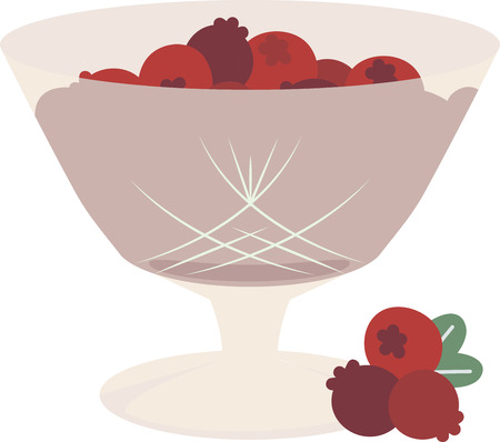 home addition: Cranberries make a flavorful addition to many Thanksgiving side dishes and desserts. Make a perfect gift with this design on table runners, kitchen linens, home decor and other holiday projects! Illustration