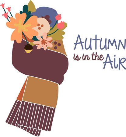 季節は変わる。 秋服、テーブル クロス、ナプキン、贈り物にこのデザインの素晴らしさを体験します。  イラスト・ベクター素材