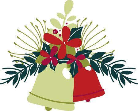 Sterrenstof, hulststruiken en pruimencake. Verzend tidings van zoetheid en vrede met dit ontwerp op uw projecten van Kerstmis! Stock Illustratie