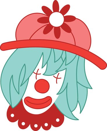 This clown character is very popular with kids. Get this design filled with humor on a childs bedroom decor and other projects.  イラスト・ベクター素材