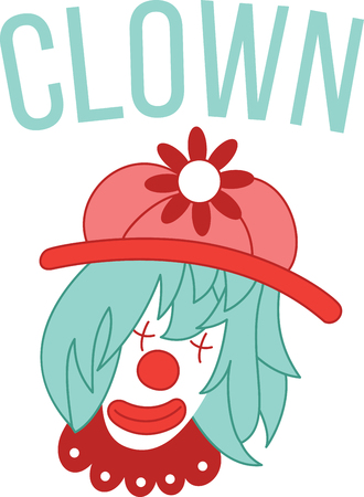 humor: This clown character is very popular with kids. Get this design filled with humor on a childs bedroom decor and other projects. Illustration