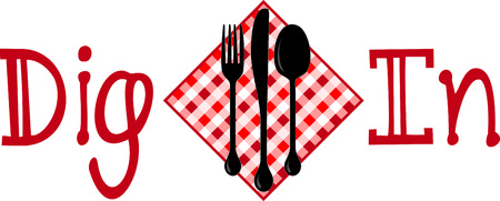 flatwares: Enhance your table settings with this design on tablecloths, napkins, place mats and more. Illustration