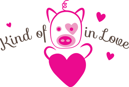 oink: Love is the flame that sets your hearts on fire!  Celebrate the month of love with this design on your Valentines projects! Illustration