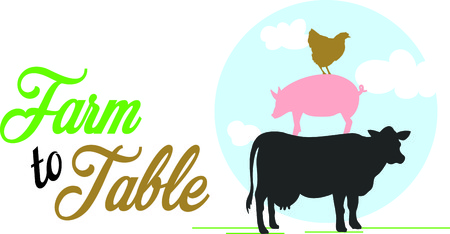 home decorating: Farm animals are an enduring theme for home decorating!  Add country charm with this design on flour sack towels, T-shirts, quilts, table linens and more!