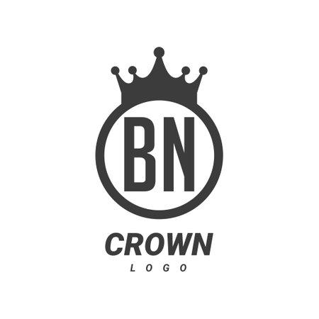 BN B N Letter Logo Design with Circular Crown.