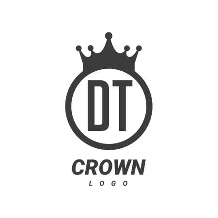 DT Letter Logo Design with Circular Crown.