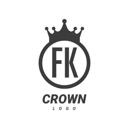 FK Letter Logo Design with Circular Crown.