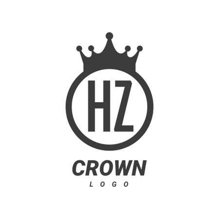 HZ Letter Logo Design with Circular Crown. Logó