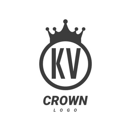 KV Letter Logo Design with Circular Crown.