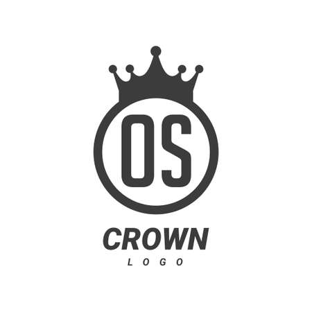 OS Letter Logo Design with Circular Crown.