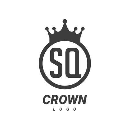 SQ Letter Logo Design with Circular Crown.