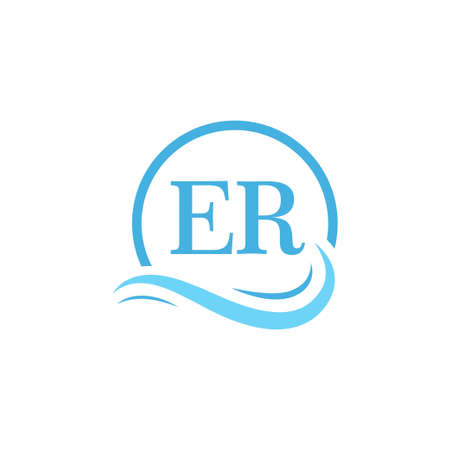 ER Lettering Logo Design in Water Wave. Modern Letter Logo Design With Circular Water Waves