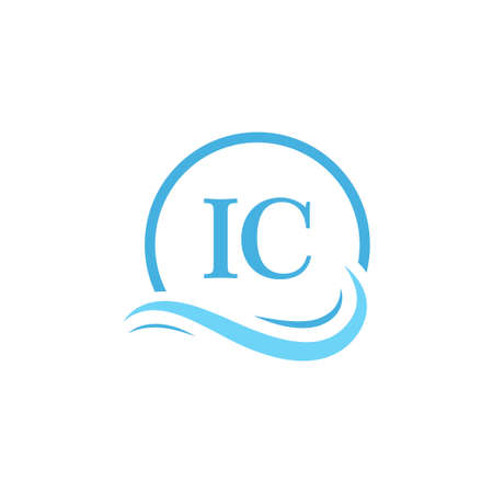 IC Lettering Logo Design in Water Wave. Modern Letter Logo Design With Circular Water Waves
