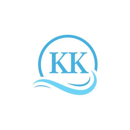 KK Lettering Logo Design in Water Wave. Modern Letter Logo Design With Circular Water Waves