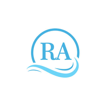 RA Lettering Logo Design in Water Wave. Modern Letter Logo Design With Circular Water Waves