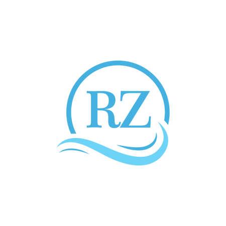 RZ Lettering Logo Design in Water Wave. Modern Letter Logo Design With Circular Water Waves Logó