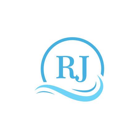 RJ Lettering Logo Design in Water Wave. Modern Letter Logo Design With Circular Water Waves