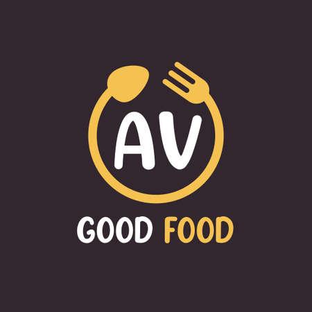 AV Letter Logo Design with Restaurant Concept. Modern Letter Logo Design with circular fork and spoon