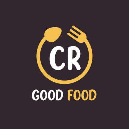CR Letter Logo Design with Restaurant Concept. Modern Letter Logo Design with circular fork and spoon
