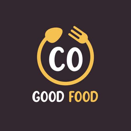 CO Letter Logo Design with Restaurant Concept. Modern Letter Logo Design with circular fork and spoon