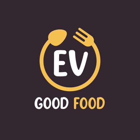 EV Letter Logo Design with Restaurant Concept. Modern Letter Logo Design with circular fork and spoon