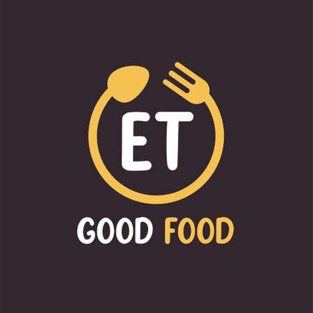 ET Letter Logo Design with Restaurant Concept. Modern Letter Logo Design with circular fork and spoon