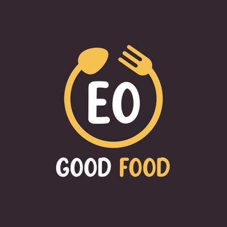 EO Letter Logo Design with Restaurant Concept. Modern Letter Logo Design with circular fork and spoon Logo