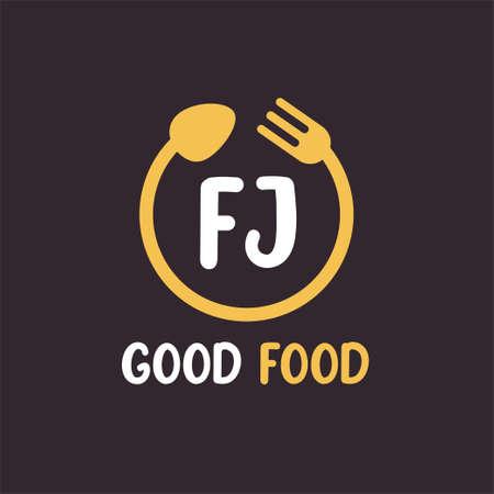 FJ Letter Logo Design with Restaurant Concept. Modern Letter Logo Design with circular fork and spoon