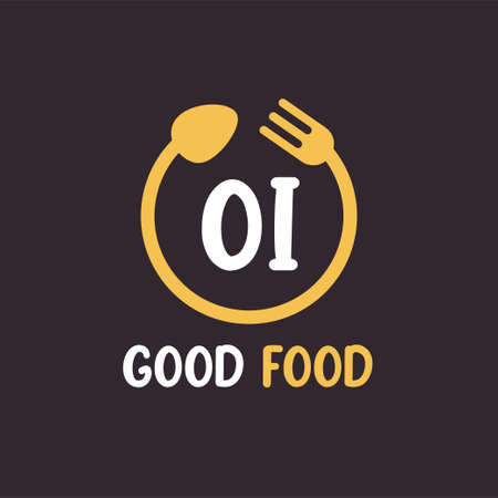 OI Letter Logo Design with Restaurant Concept. Modern Letter Logo Design with circular fork and spoon