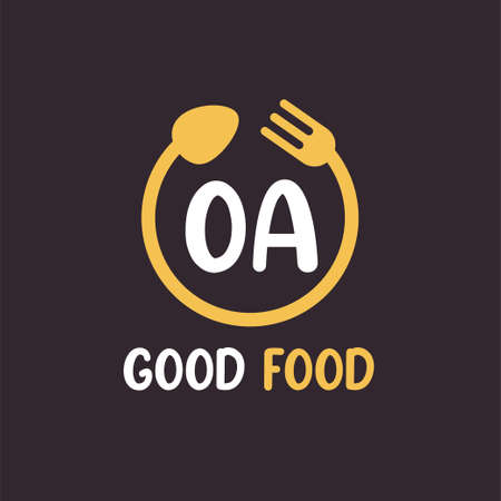 OA Letter Logo Design with Restaurant Concept. Modern Letter Logo Design with circular fork and spoon
