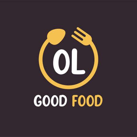 OL Letter Logo Design with Restaurant Concept. Modern Letter Logo Design with circular fork and spoon