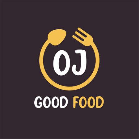OJ Letter Logo Design with Restaurant Concept. Modern Letter Logo Design with circular fork and spoon Logo