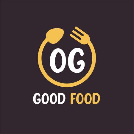 OG Letter Logo Design with Restaurant Concept. Modern Letter Logo Design with circular fork and spoon