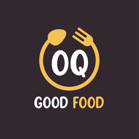 OQ Letter Logo Design with Restaurant Concept. Modern Letter Logo Design with circular fork and spoon