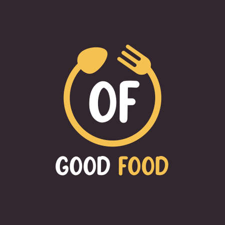 OF Letter Logo Design with Restaurant Concept. Modern Letter Logo Design with circular fork and spoon Logo