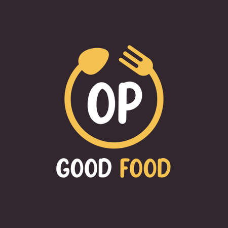 OP Letter Logo Design with Restaurant Concept. Modern Letter Logo Design with circular fork and spoon