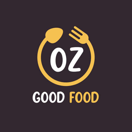 OZ Letter Logo Design with Restaurant Concept. Modern Letter Logo Design with circular fork and spoon