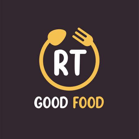 RT Letter Logo Design with Restaurant Concept. Modern Letter Logo Design with circular fork and spoon