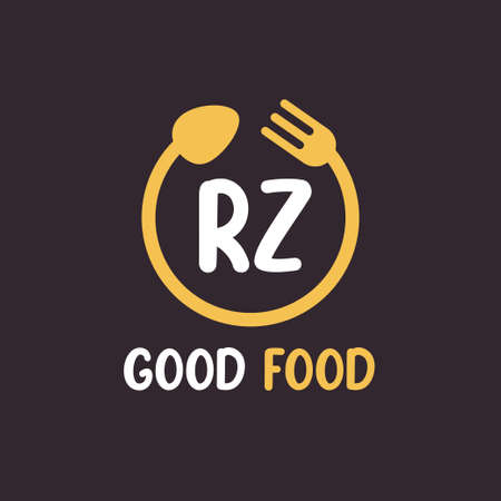 RZ Letter Logo Design with Restaurant Concept. Modern Letter Logo Design with circular fork and spoon Logó