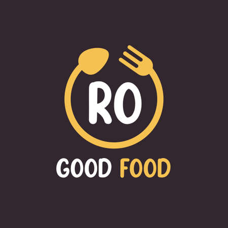 RO Letter Logo Design with Restaurant Concept. Modern Letter Logo Design with circular fork and spoon