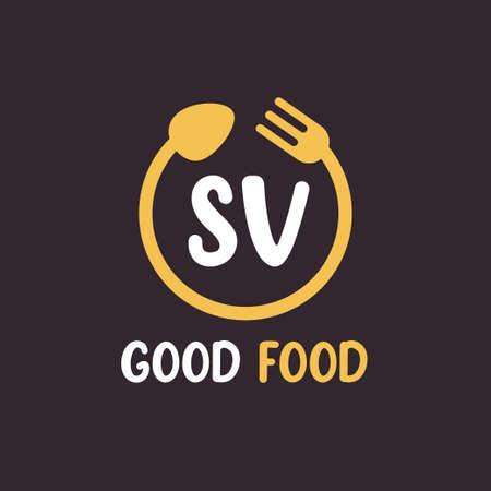 SV Letter Logo Design with Restaurant Concept. Modern Letter Logo Design with circular fork and spoon