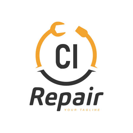 CI Letter Design with Repairing Logo. Modern Letter Logo Design in Repair icon Illusztráció