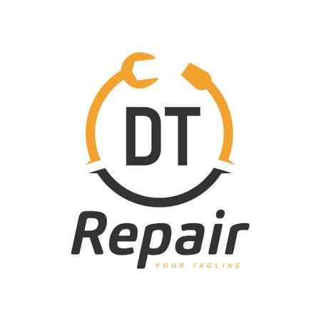DT Letter Design with Repairing Logo. Modern Letter Logo Design in Repair icon