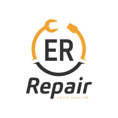 ER Letter Design with Repairing Logo. Modern Letter Logo Design in Repair icon