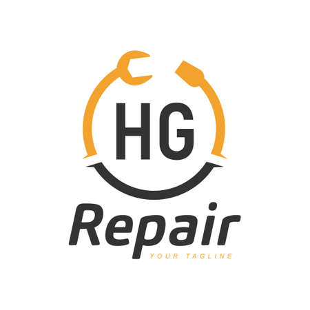 HG Letter Design with Repairing Logo. Modern Letter Logo Design in Repair icon
